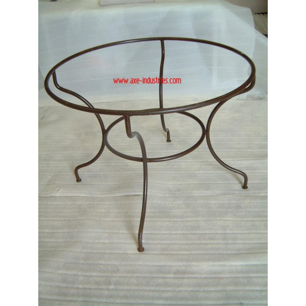 Table zellige fer forg essaouira tables zellige et pied for Table ronde bois et fer forge