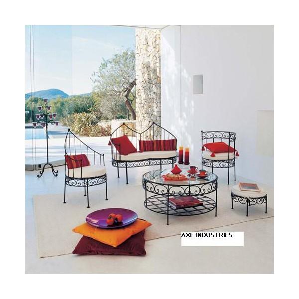 salon complet m dina en fer forg salon complet en fer forge avec assises axe industries. Black Bedroom Furniture Sets. Home Design Ideas