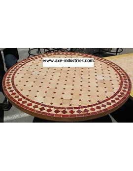 Table ronde avec piétement simple en fer forgé et plateau zellige
