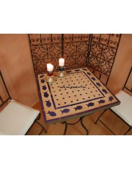 Table carrée  Poseidon avec piétement simple en fer forgé et plateau zellige
