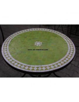 Table ronde avec piétement simple en fer forgé et plateau zellige Modèle Marrakech
