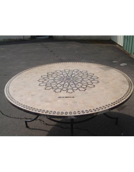Table ronde en zellige et pied simple Modèle Tétouan