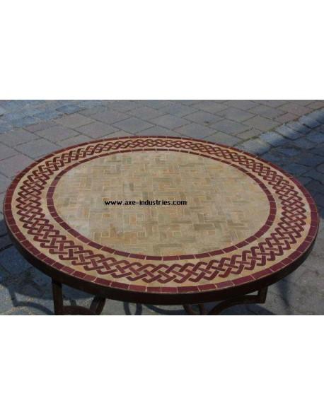 Table ronde  avec piétement simple en fer forgé et plateau zellige Modèle Elisabeth