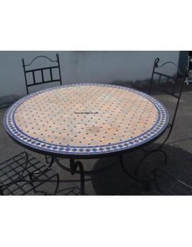 Table ronde en zellige et pied simple Modèle Ifrane