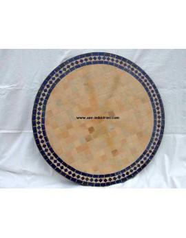 Table ronde avec piétement simple en fer forgé et plateau zellige Modèle Cassandre