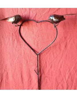 Tuteur Coeur 2 oiseaux