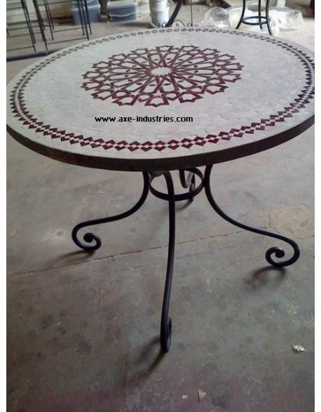 table zellige fer forg casia tables zellige et pied fer forg axe industries. Black Bedroom Furniture Sets. Home Design Ideas