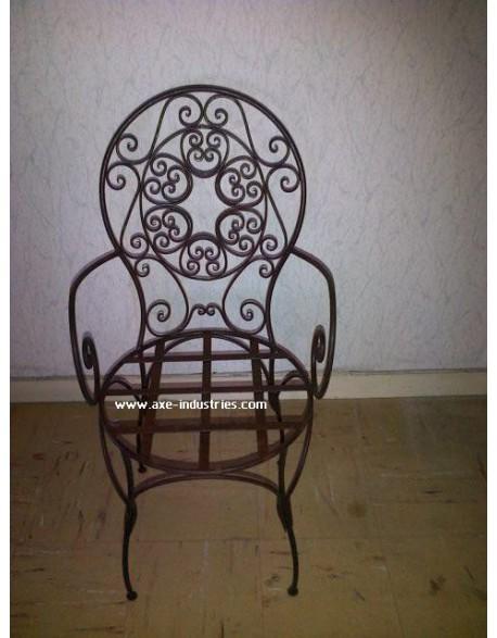 Chaise en fer forgé modèle Rachid avec assise