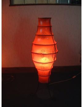 LAMPE SUR PIED FER FORGE ET ABAT JOUR ORANGE