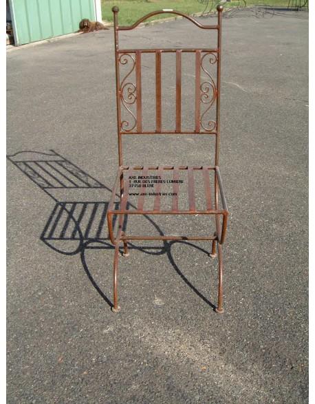 Chaise en fer forgé Constantin livrée avec assise déhoussable