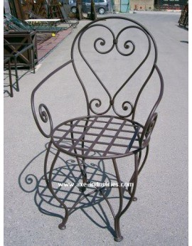 CHAISE FER FORGE CASABLANCA AVEC ASSISE BLANCHE FOURNIE