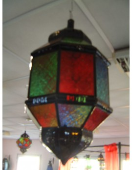 LAMPE MAROCAINE A SUSPENDRE HAUTEUR 53CM VITRAUX MULTICOLORES