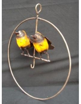 Porte boule de graisse Cercle avec 2 oiseaux