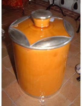 Pot céramique jaune avec bordure argentée grand modèle