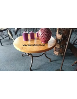 Table  basse  bois et fer forgé