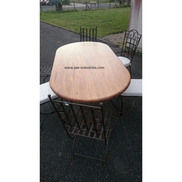 Table ovale en bois et fer forg meubles bois et fer - Table en fer forge et bois ...