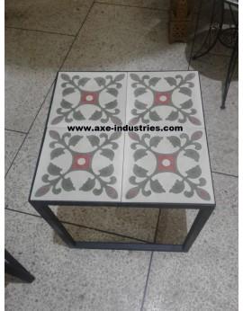 Table basse fer forgé/carreaux de ciment Périgord
