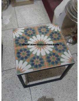 Table basse fer forgé/carreaux de ciment Provence