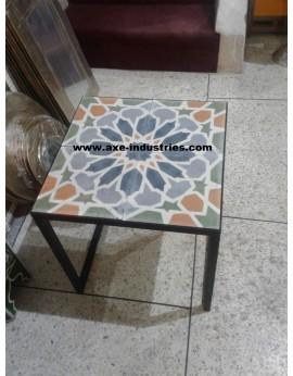 Table basse fer forgé/carreaux de ciment Lubéron