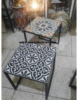 Table basse fer forgé/carreaux de ciment Toscane