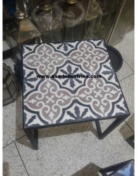 Table basse fer forgé/carreaux de ciment Deauville