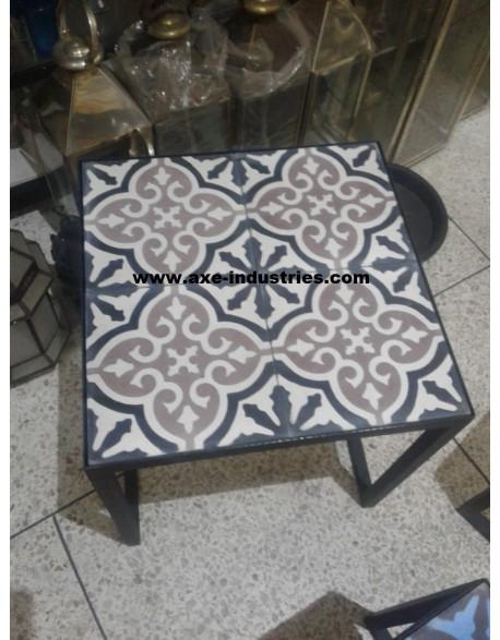 table basse fer forg carreaux de ciment deauville. Black Bedroom Furniture Sets. Home Design Ideas