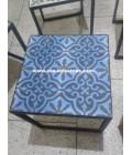 Table basse fer forgé/carreaux de ciment Tropéa