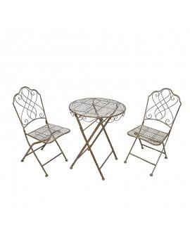 Ensemble 1 table  + 2 chaises jardin