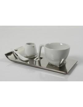 Set café et crémier blanc sur socle argent