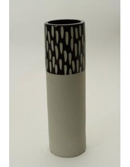 Vase tubulaire céramique naturelle et peinture acrylique lisse façon potier 6291