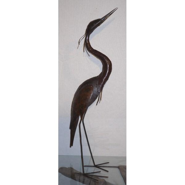 H ron cou en s grands oiseaux axe industries for Decoration jardin oiseau metal