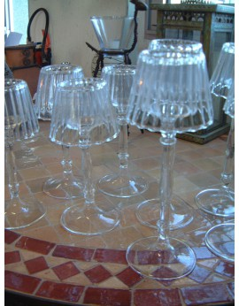 Set de 2 lampes porte-bougie en verre transparent